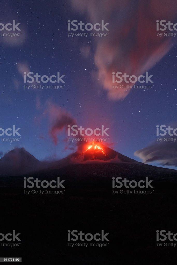 Kamchatka Peninsula: night eruption Klyuchevskaya Sopka stock photo