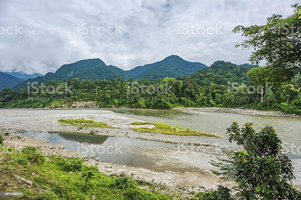 Kameng river and mountains, Bhalukpong, Arunachal Pradesh, India. stock photo