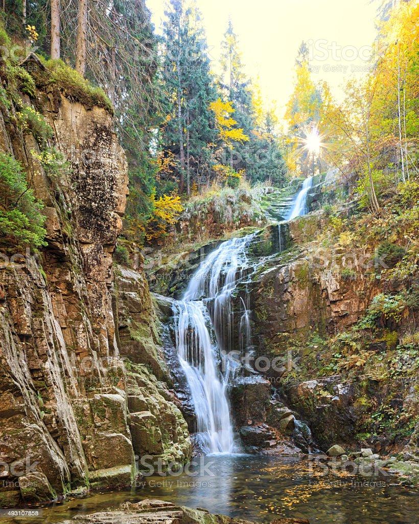 Kamienczyk waterfall in Poland stock photo