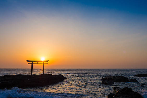 Kamiiso Torii Gate January, 2014 photography torii gate stock pictures, royalty-free photos & images