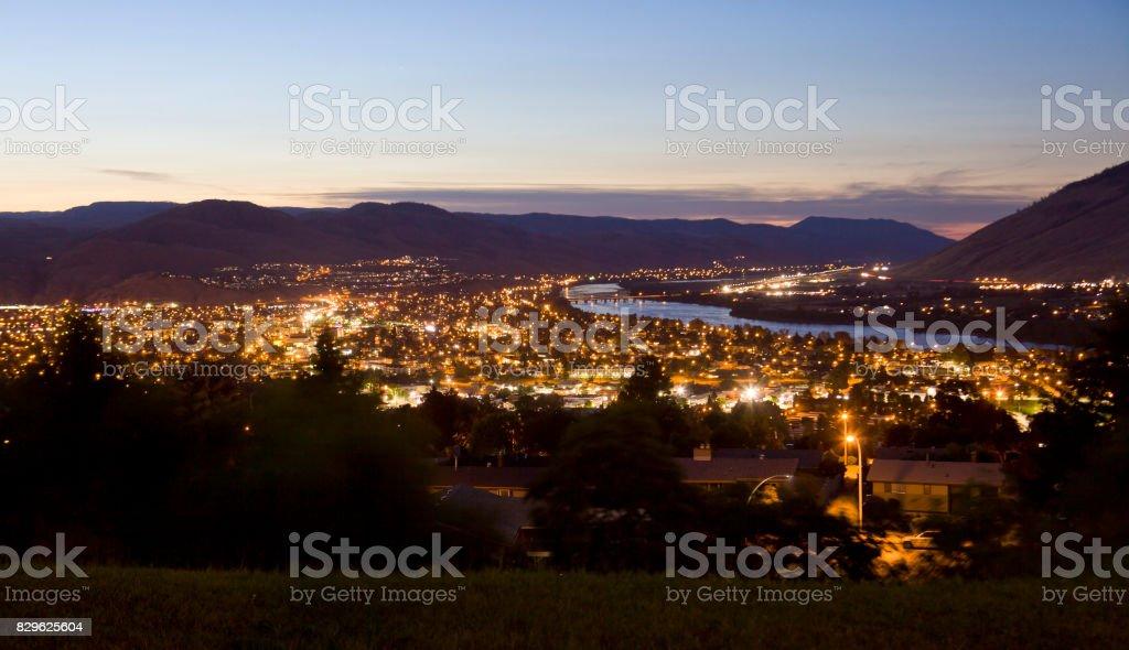 Kamloops BC, night shot stock photo