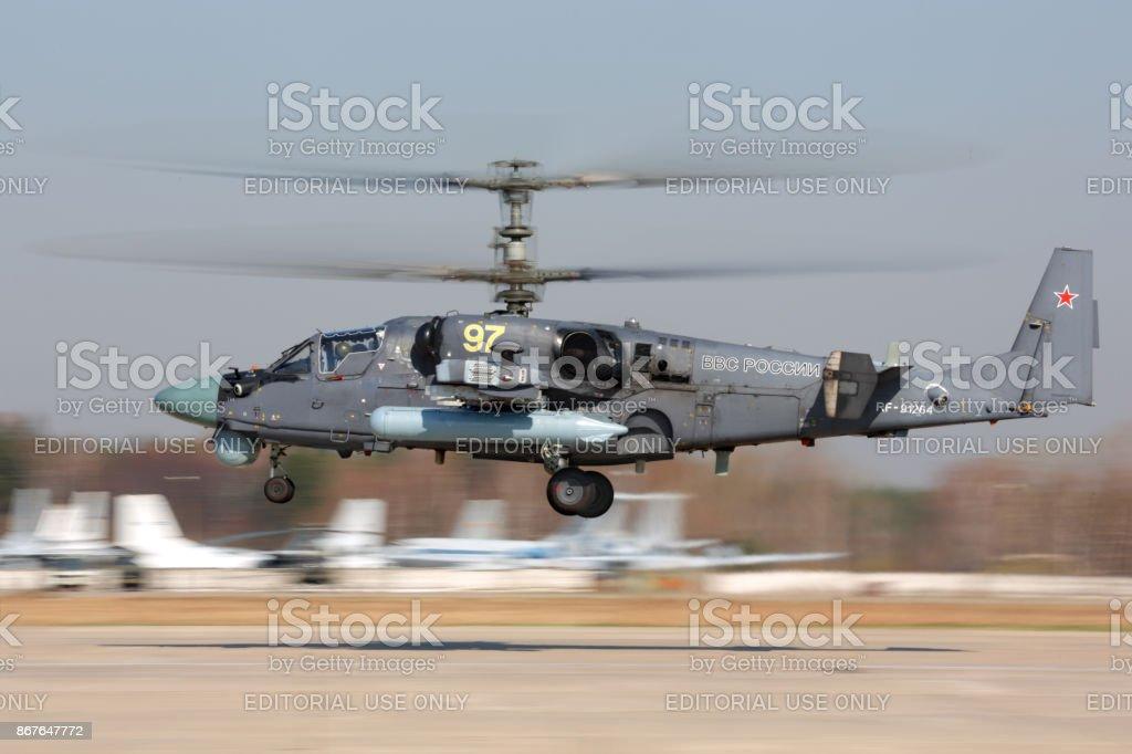 Kamov Ka-52 of russian air force taking off at Kubinka air force base. stock photo