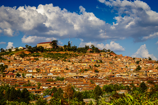 Photo of pinned Kampala on a map of Africa. May be used as illustration for traveling theme.