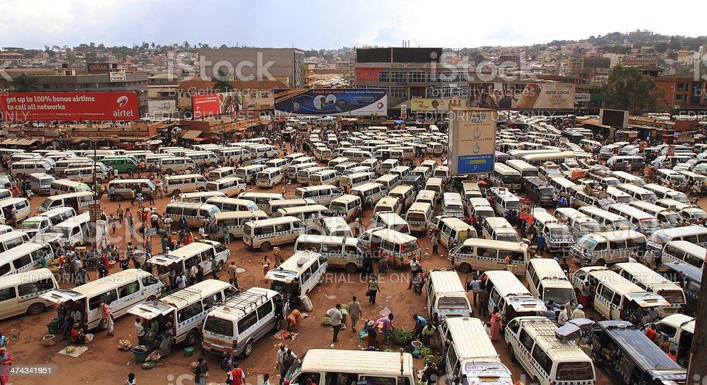 Kampala Taxi Park Panorama stock photo