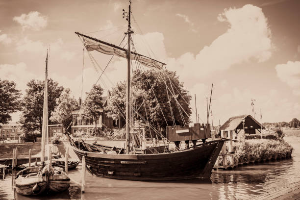 Kamper Kogge, 14th century Hanseatic trading ship and cassic Botter sailing boats stock photo