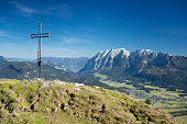 Kampl Summit Cross with Mountain Grimming, Bad Mitterndorf, Austrian Alps, Salzkammergut, Ausseerland, Austria