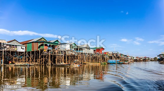 Kampong Phluk Stilted Village, Tonle Sap lake, Siem Reap Province, Cambodia, Flood, Tropical Climate, Village, Asia,
