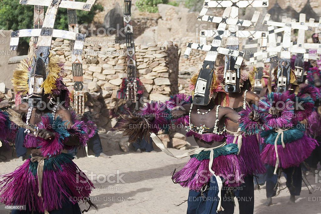 Kanaga mask and the Dogon dance, Mali. stock photo