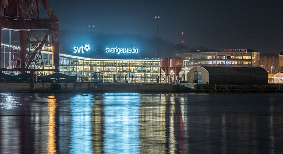 Kanalhuset Svt Swedish Television At Nught Seen From Stenpiren Stock Photo - Download Image Now