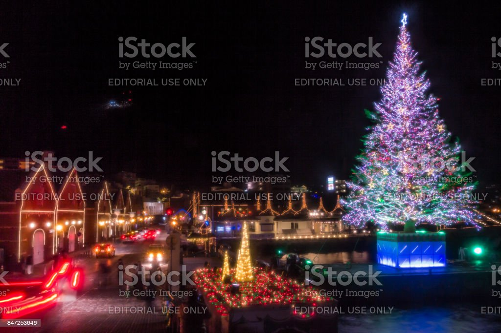kanamori warehouse christmas fantasy of hakodate royalty free stock photo
