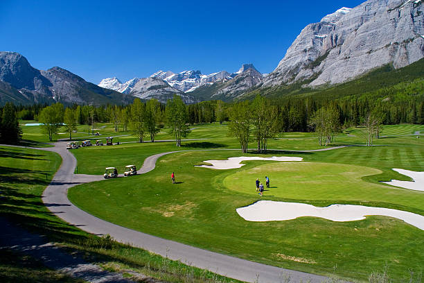 Kananaskis Golf Course A high view of Kananaskis Golf Course in the Alberta Rockies. kananaskis country stock pictures, royalty-free photos & images