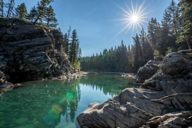 Kananaskis River in Canada the rocky cliffs of the Kananaskis River in Alberta Canada kananaskis country stock pictures, royalty-free photos & images