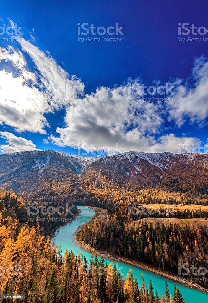 Kanas River View ,  Xinjiang, China stock photo