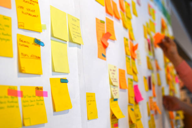 kanban board, is one of the prerequisites of agile working methodology. - post it foto e immagini stock