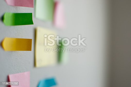 istock Kanban Board with different colored sticky note papers 1136221232