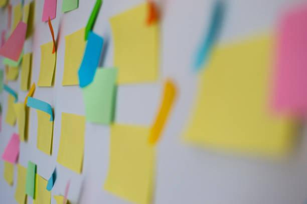 kanban-tavla med olika färgade antecknings papper - projektledning bildbanksfoton och bilder