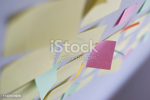 istock Kanban Board with different colored sticky note papers 1142241629