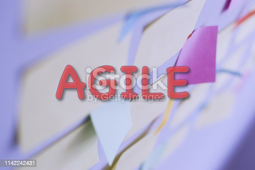 istock Kanban Board with different colored sticky note papers 1142242431