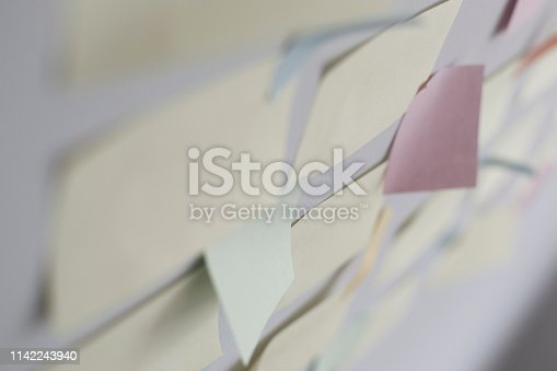 istock Kanban Board with different colored sticky note papers 1142243940