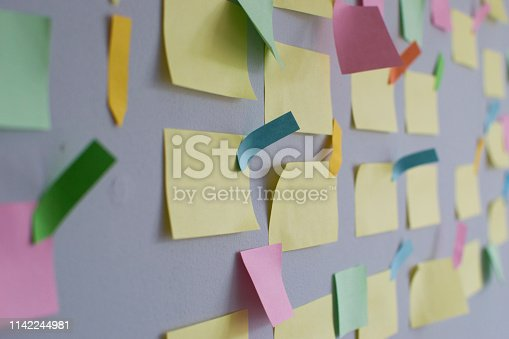 istock Kanban Board with different colored sticky note papers 1142244981