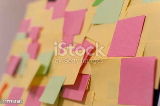 istock Kanban Board with different colored sticky note papers 1177745151
