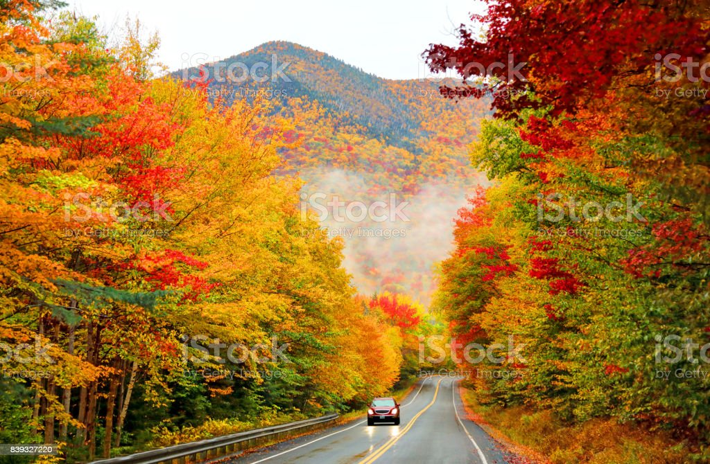 Kancamagus Highway in Northern New Hampshire stock photo