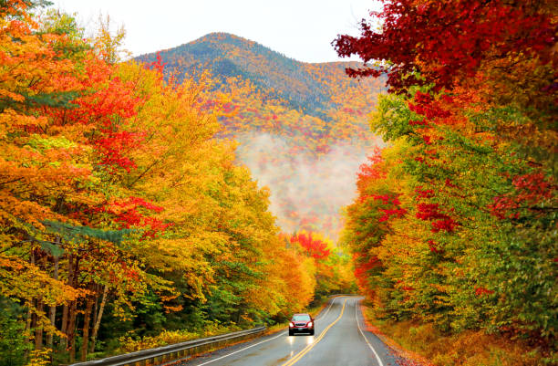 Kancamagus Highway in Northern New Hampshire The 34-mile Kancamagus Highway cuts an east-west channel through the White Mountain National Forest in New hampshire autumn leaf color stock pictures, royalty-free photos & images