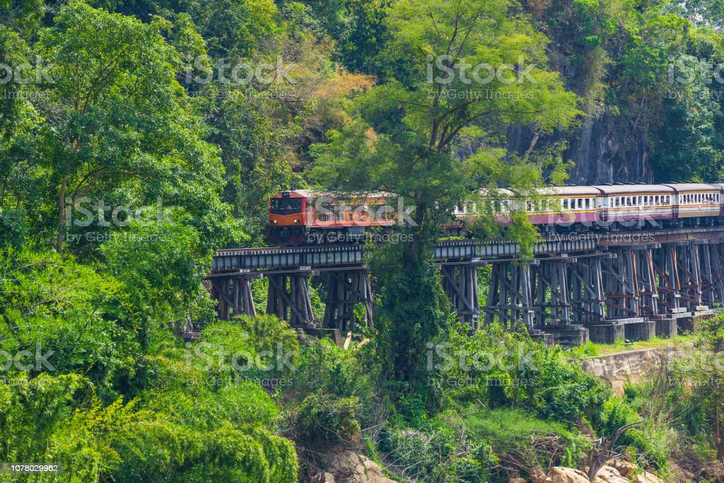 Kanchanaburi Province, Locomotive, Steam Train, Thailand, Train stock photo