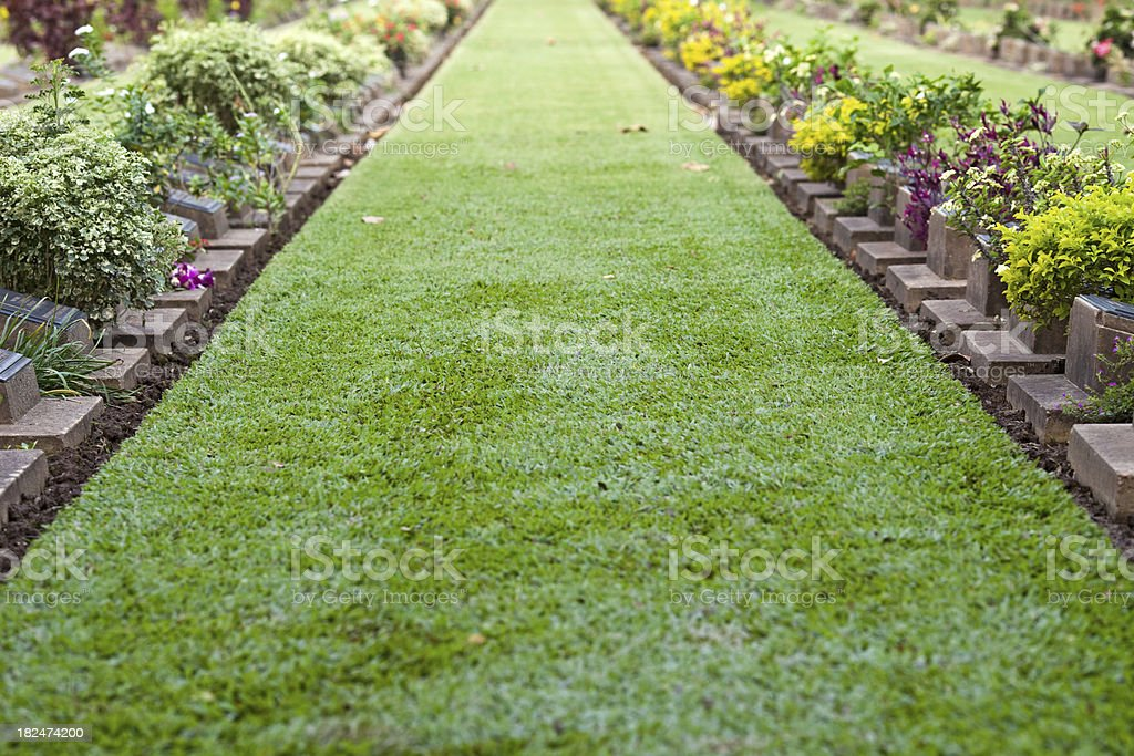 Kanchanaburi War Cemetery royalty-free stock photo