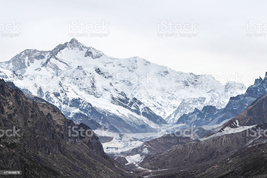 kanchendzonga summit from goechala trek in indai royalty-free stock photo