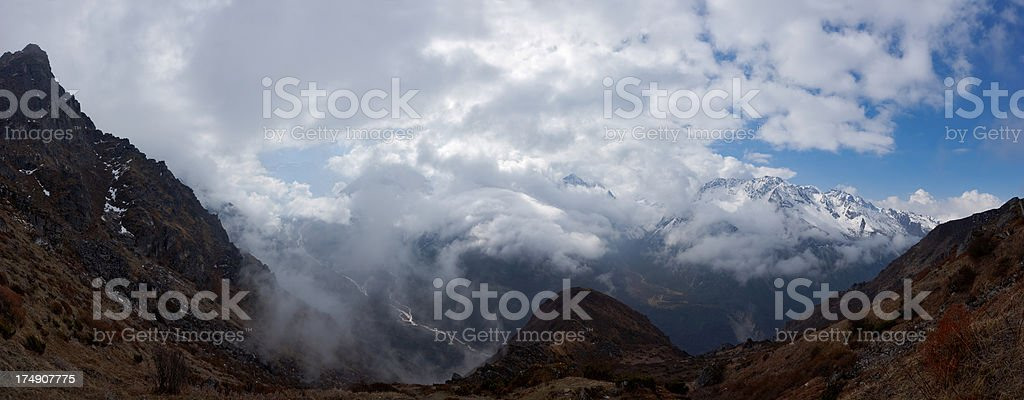 Kanchenjunga. Se-le-le pass. Nepal motives. royalty-free stock photo