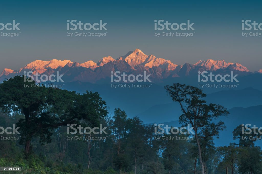 Kanchenjunga Gebirge, Himalaya Berge im Hintergrund, Sikkim – Foto