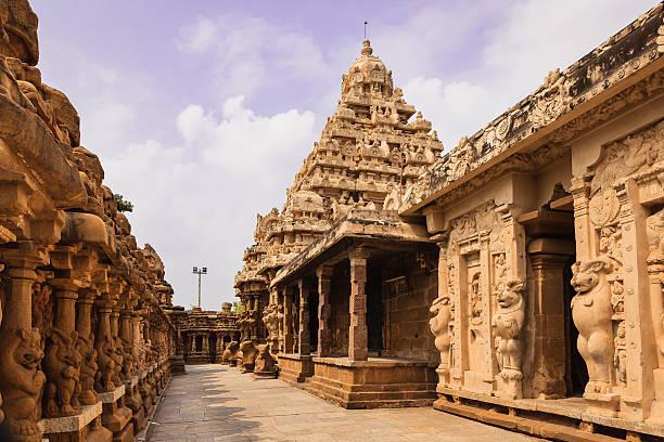 Kanchipuram, India - 1300 year old Kailasanathar Temple, circumambulatory passage stock photo