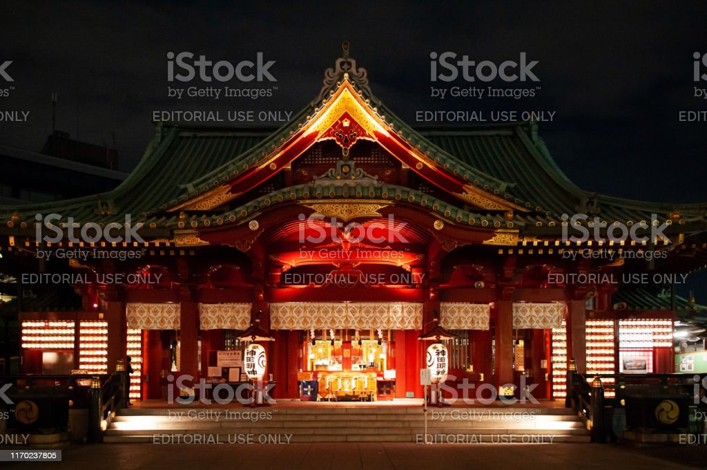 Tokyo, Japan - Kanda Myojin Shrine ancient main hall grow in the dark...