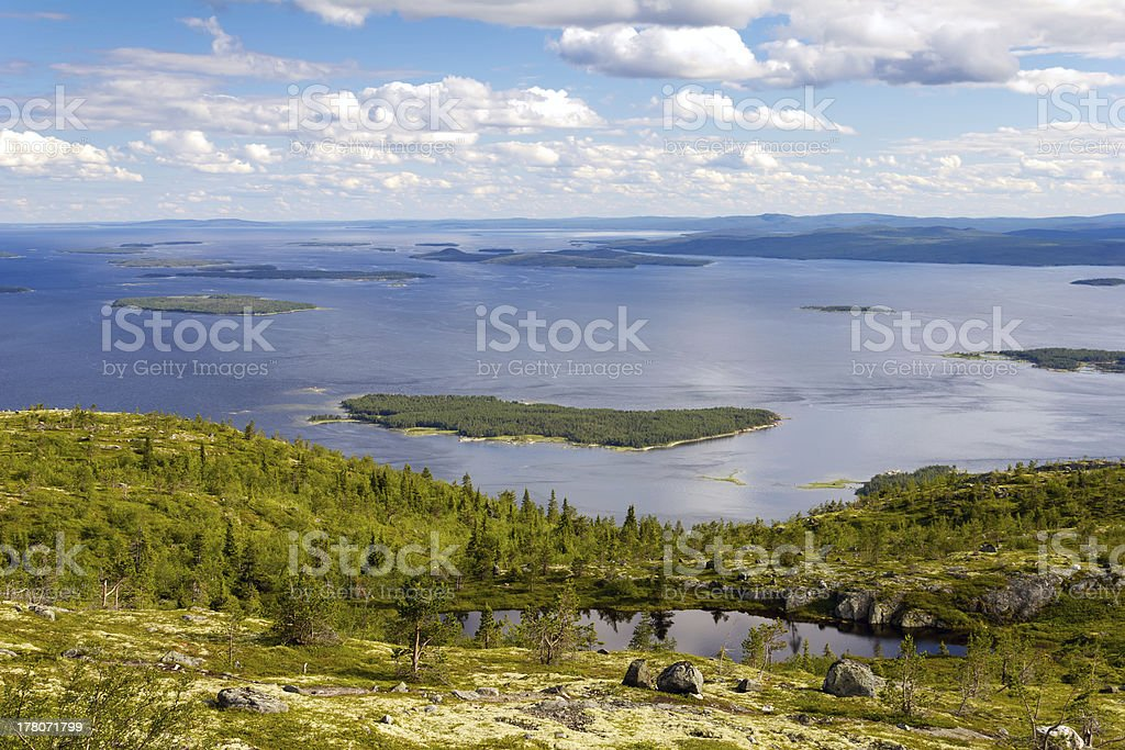 Kandalaksha Bay of the White Sea, Russia stock photo