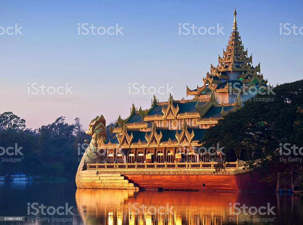 Kandawgyi lake in Yangon, Myanmar stock photo
