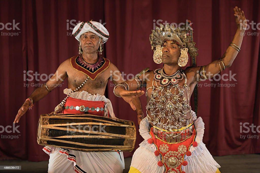 Kandyan dancer during the show, Kandy, Sri Lanka stock photo