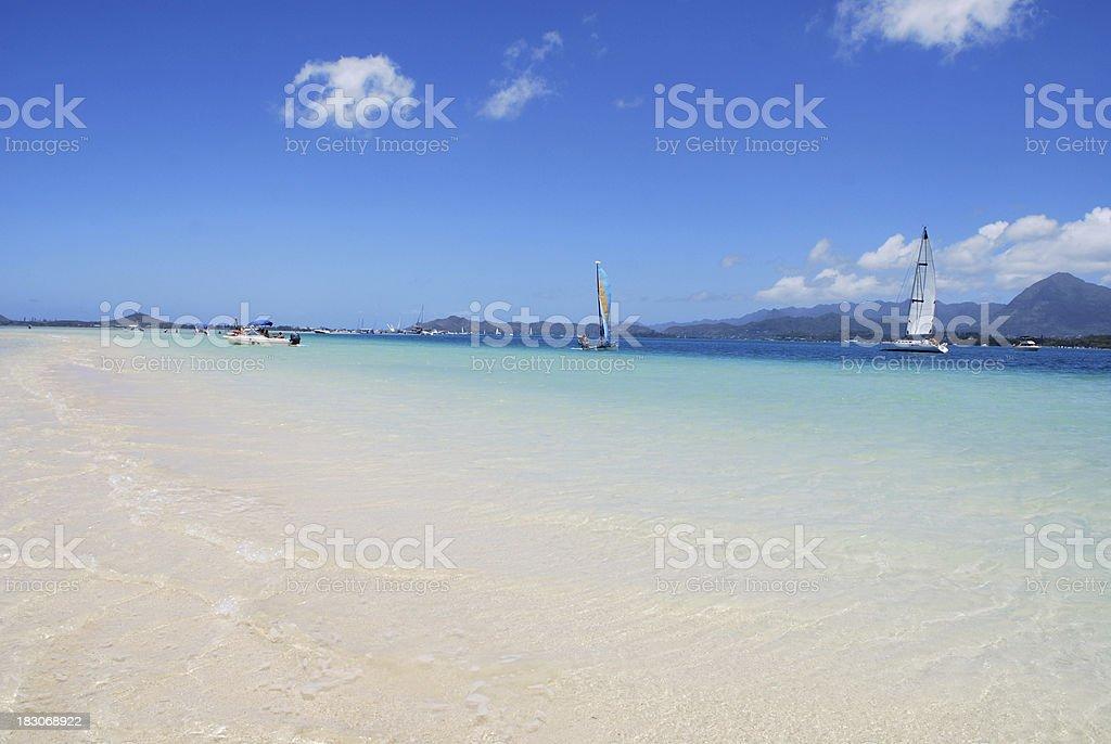 Kaneohe bay sandbar stock photo