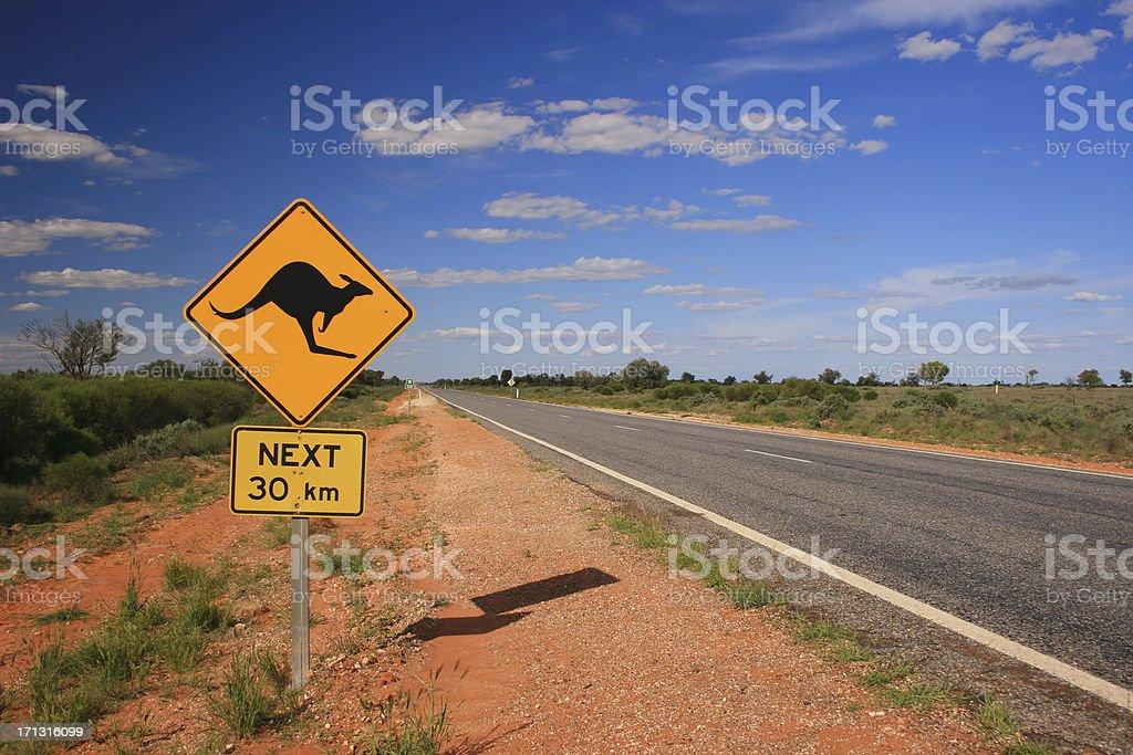 Kangaroo Road Sign stock photo