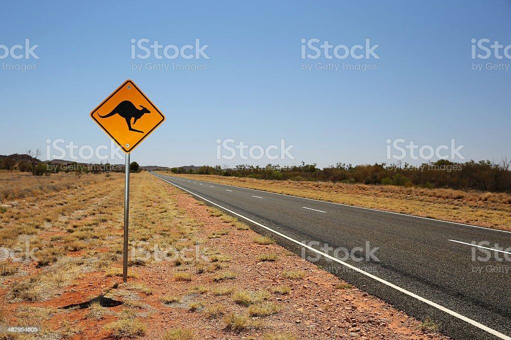 Kangaroo Road Sign royalty-free stock photo