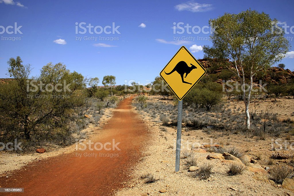Kangaroo Sign in the Outback stock photo