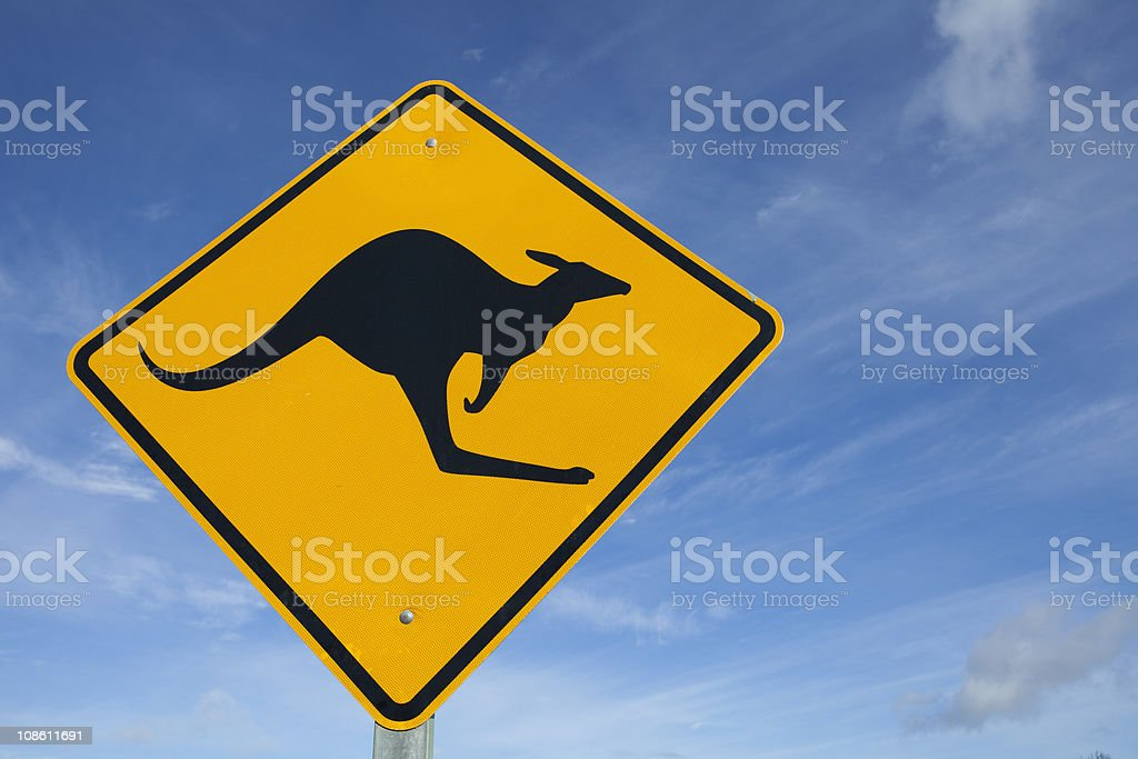 Kangaroo Sign with blue sky and clouds royalty-free stock photo