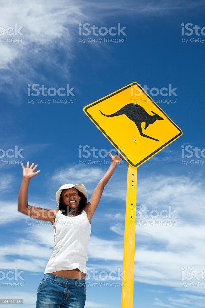 Kangaroo traffic sign royalty-free stock photo