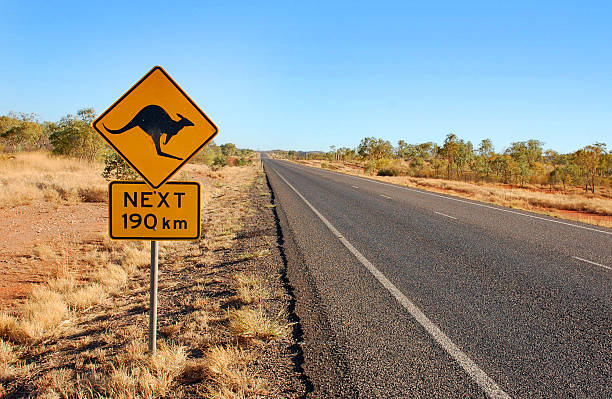 Kangaroo warning sign in Australia stock photo