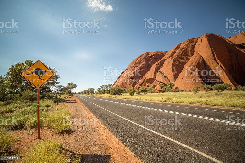 Kangaroo warning sign in the outback, Australia stock photo