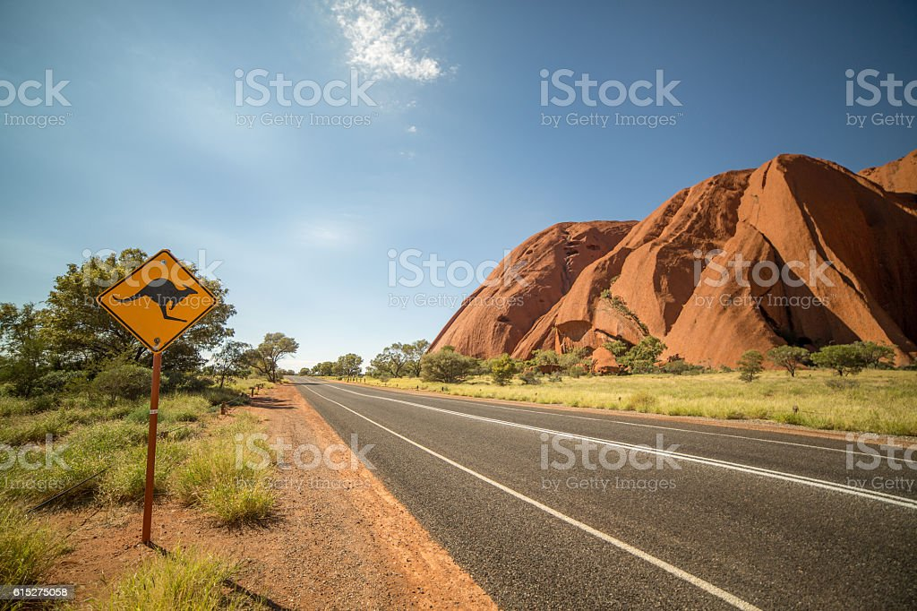 Kangaroo warning sign in the outback, Australia stock photo