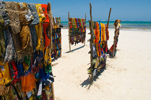Kanga's (clothes) for sale on Mombasa beach, Kenya stock photo