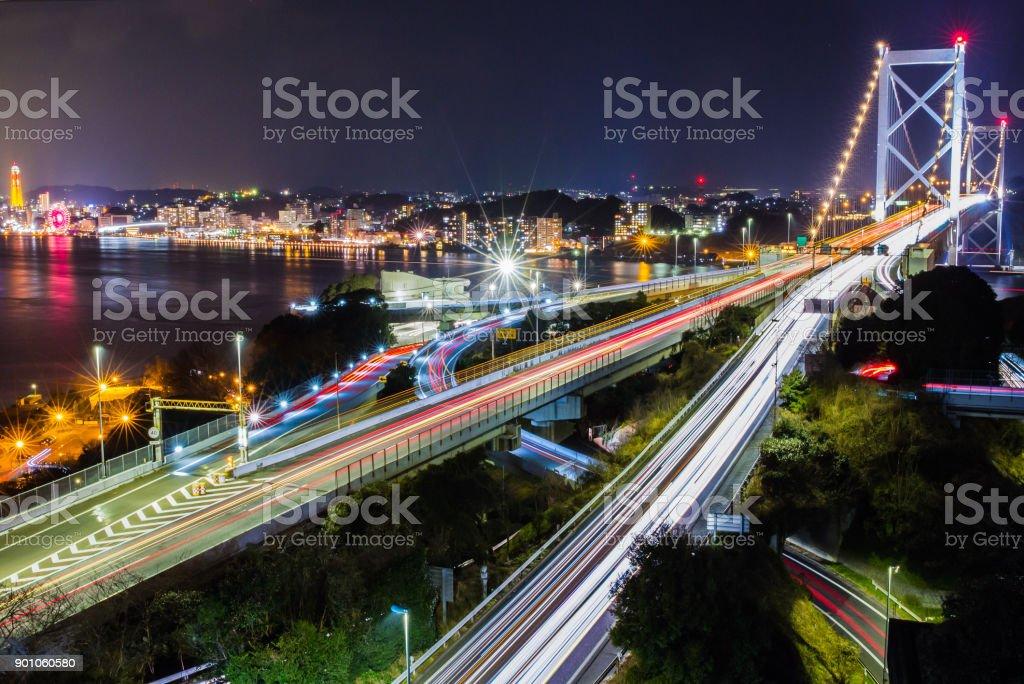 Kanmon Bridge links Kyushu and Honshu, Japan stock photo