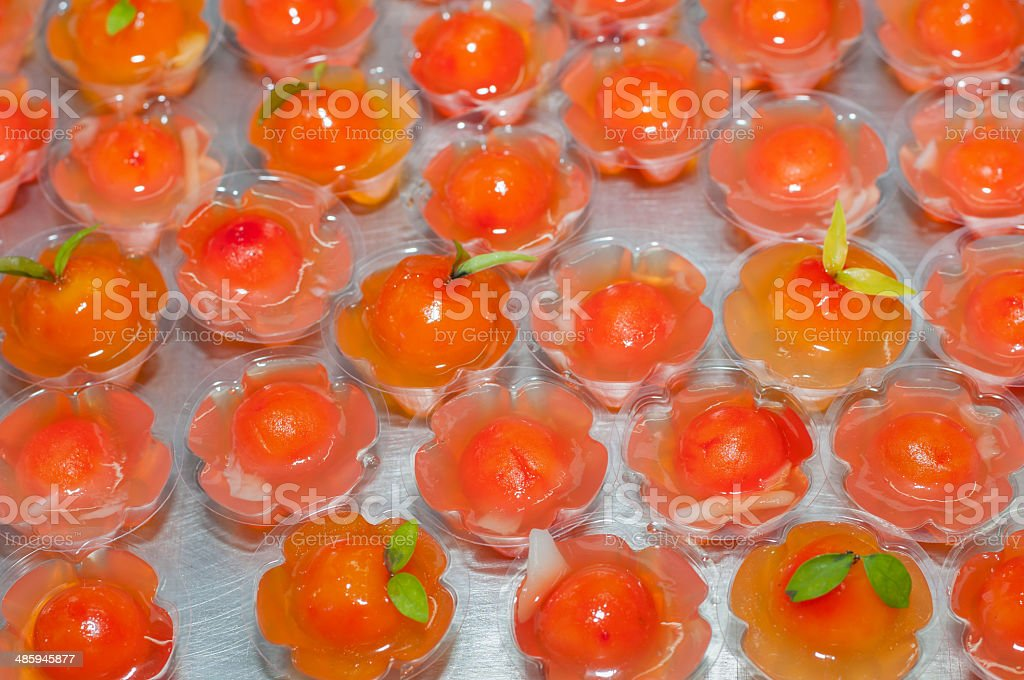 kanom woon look choup, applied thai dessert stock photo
