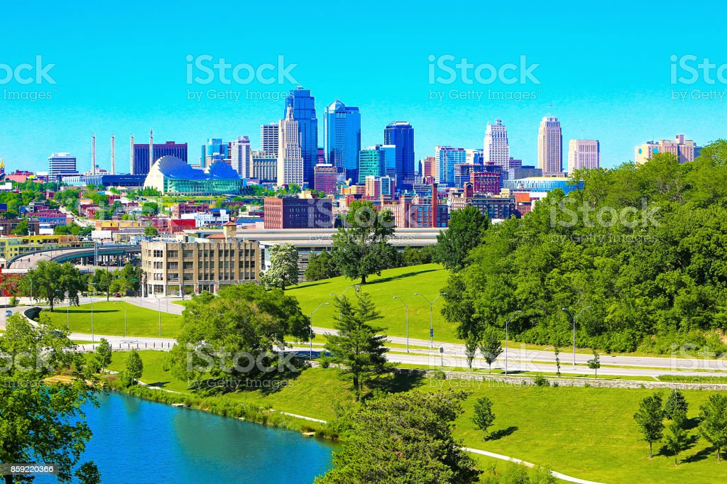 Kansas City Missouri Downtown Skyline Lake stock photo